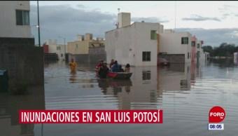 Fuerte lluvia provoca inundaciones en San Luis Potosí