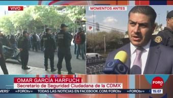 FOTO: García Harfuch explica cómo fue bloqueo policías federales AICM,