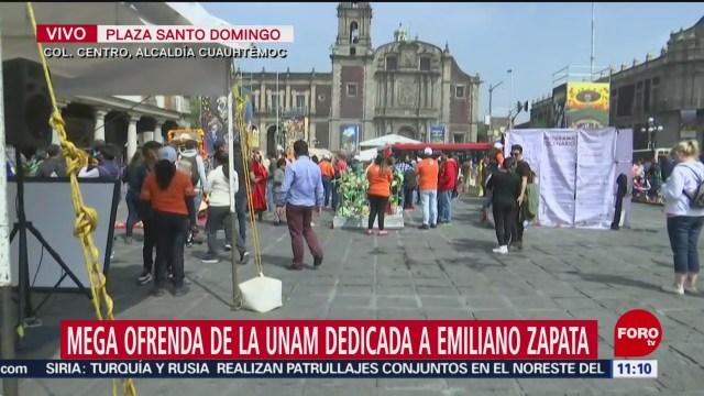 FOTO: Inauguran megaofrenda de la UNAM dedicada a Emiliano Zapata en CDMX, 1 noviembre 2019