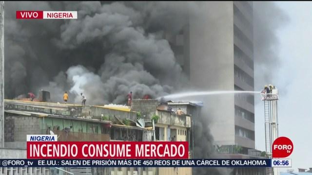 Incendio consume mercado de Nigeria