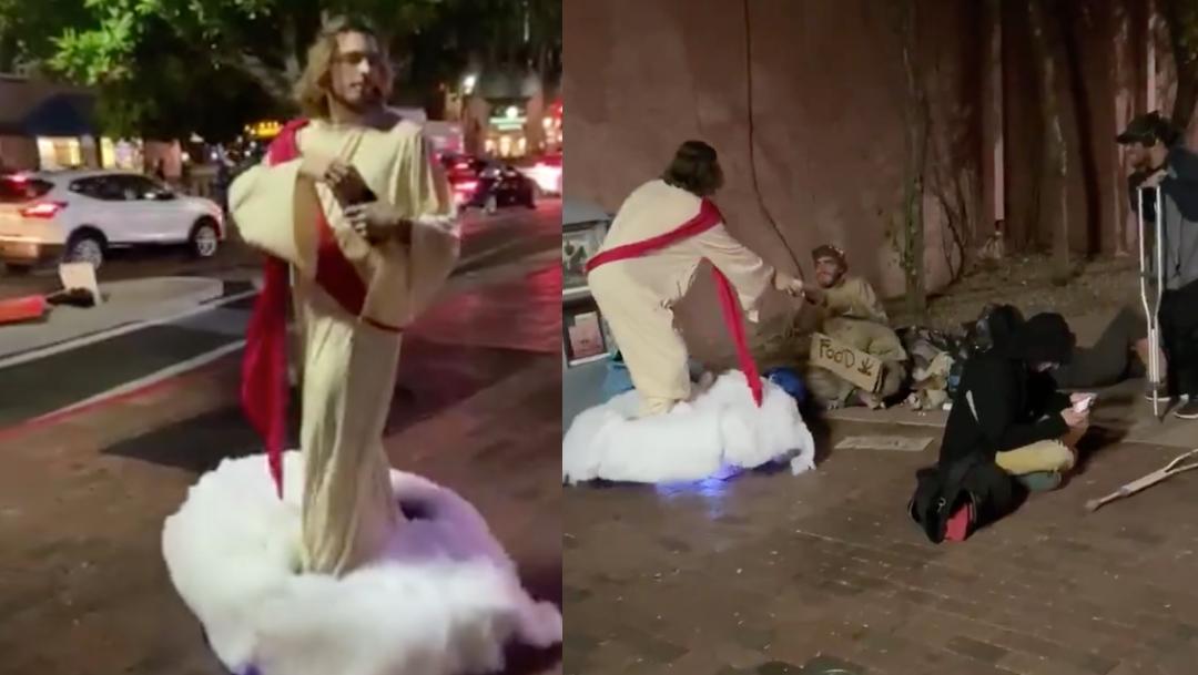 Foto: joven se disfraza de jesus y da pan a homeless