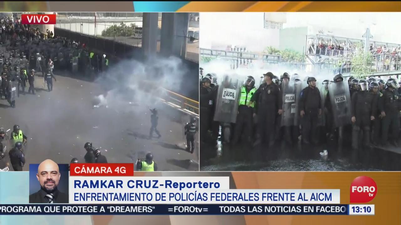 FOTO: Lanzan Granadas Gas Durante Protesta Policías Federales Frente AICM,