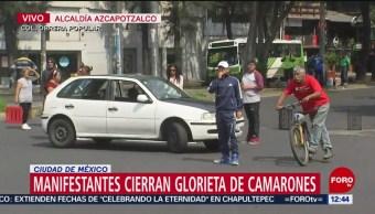 Manifestantes cierran Glorieta Camarones, CDMX