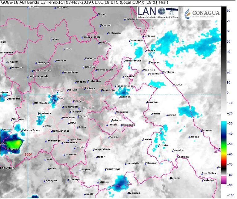 Foto: Imagen de satélite muestra cielo nublado en el centro del país, 3 noviembre 2019