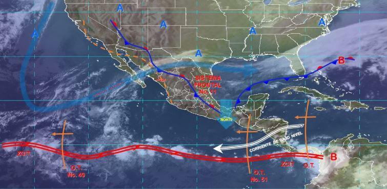 Imagen de fenómenos meteorológicos significativos de las 06:00 horas. (@conagua_clima)