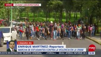 Marchan estudiantes en CU contra violencia en la UNAM