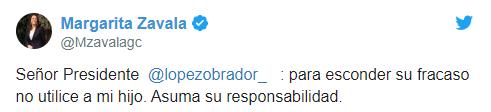 IMAGEN Margarita Zavala responde a AMLO por informe de bots (Twitter)