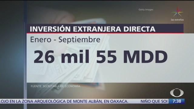 México captó 26 mil 055 mdd en inversión extranjera directa de enero a septiembre