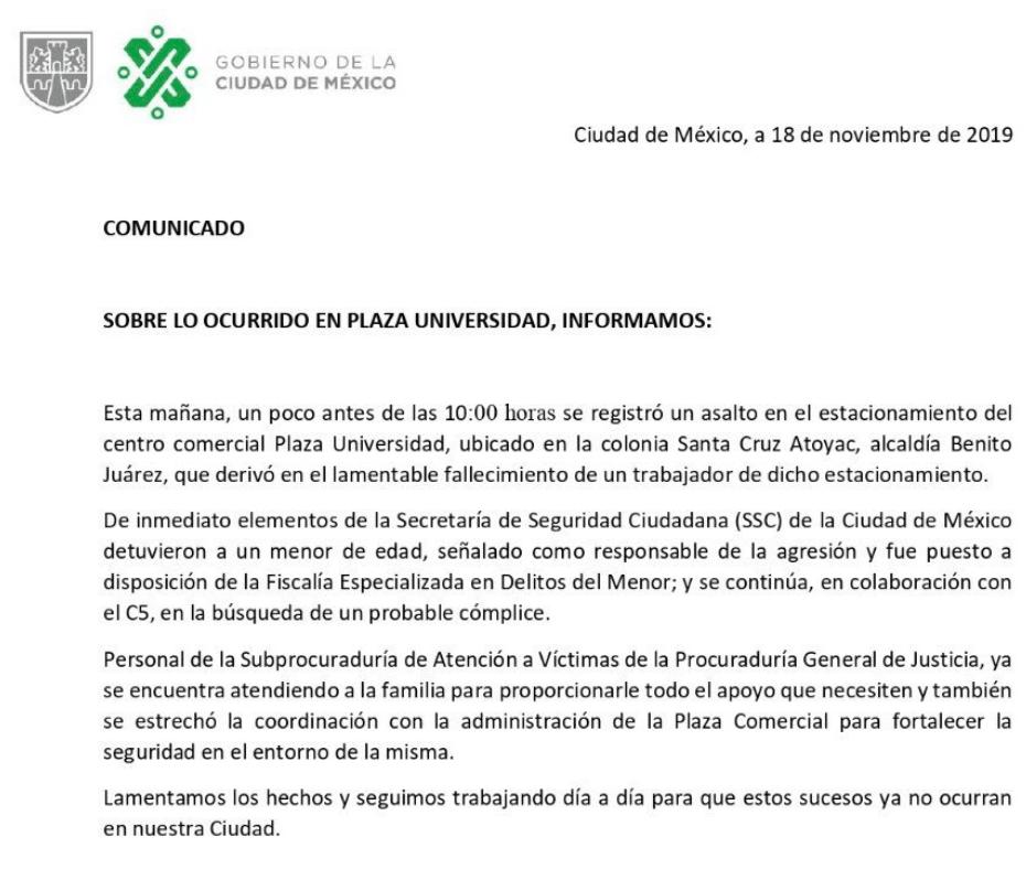 IMAGEN Muere empleado por asalto en estacionamiento de Plaza Universidad, en la CDMX (Twitter)