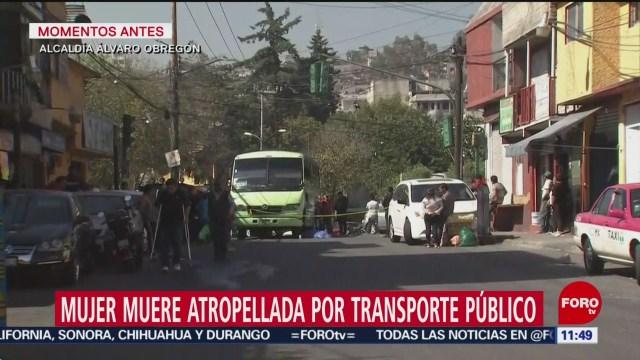 Mujer muere atropellada por transporte público la Álvaro Obregón, CDMX
