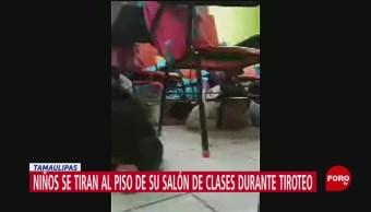 FOTO: Niños se tiran al piso de su salón de clases durante balacera en Tamaulipas, 15 noviembre 2019