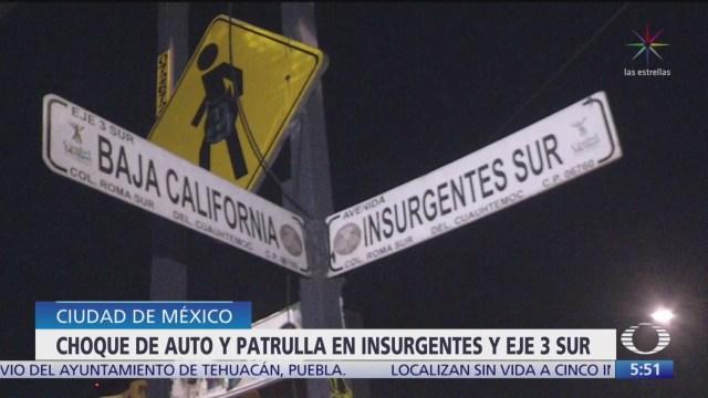 FOTO: Patrulla choca contra auto particular en Insurgentes, CDMX, 18 noviembre 2019