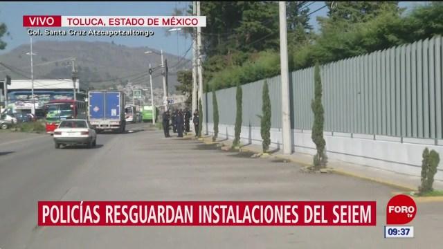Policías resguardan instalaciones del SEIEM