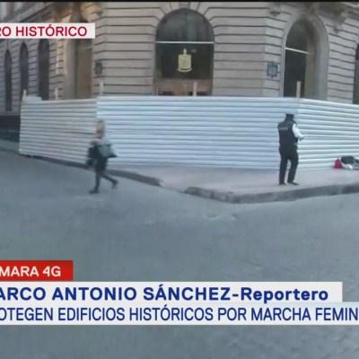 Protegen edificios históricos por marcha feminista en CDMX