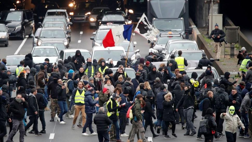 Protestas de Chalecos amarillos en París.