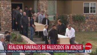 Realizan funerales fallecidos ataque contra familia LeBarón