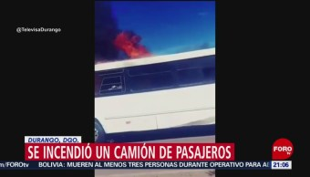 Foto: Camión Pasajeros Durango Incendia Hoy Video 19 Noviembre 2019