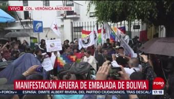 FOTO: Simpatizantes Evo Morales realizan mitin embajada Bolivia México