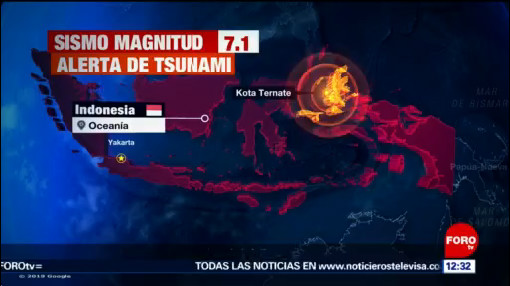 Sismo de 7.1 remece Indonesia, no reportan daños