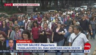 FOTO: Trabajadores del INAH marchan por Paseo de la Reforma, 19 noviembre 2019