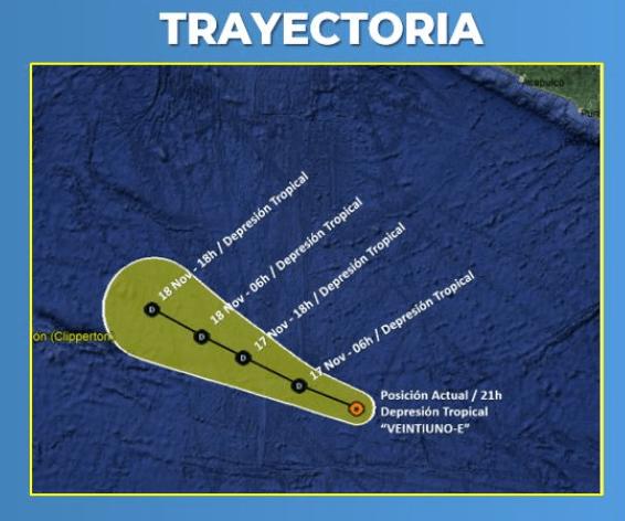 """IMAGEN Depresión tropical """"Veintiuno-E"""" afectaría costas de Guerrero (Conagua)"""