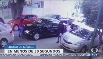 Tres hombres asaltan con pistola a automovilista en la CDMX