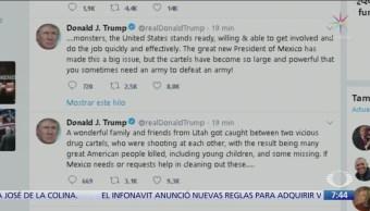 Trump ofrece ayuda a México en caso de familia LeBarón