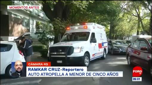 Vehículo atropella a menor de cinco años en CDMX