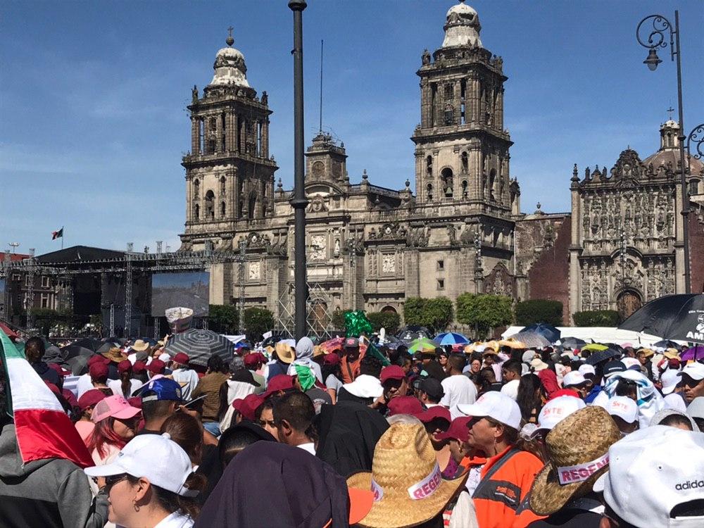Foto: Miles se dieron cita al Zócalo por mensaje del presidente López Obrador, 1 de diciembre de 2019 (Noticieros Televisa)