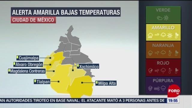 alerta amarilla por bajas temperaturas en la CDMX