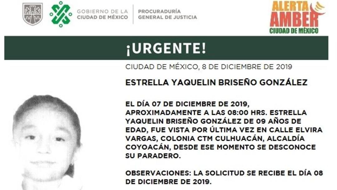 IMAGEN: Activan Alerta Amber para localizar a Estrella Yaquelin Briseño González, el 10 de diciembre de 2019
