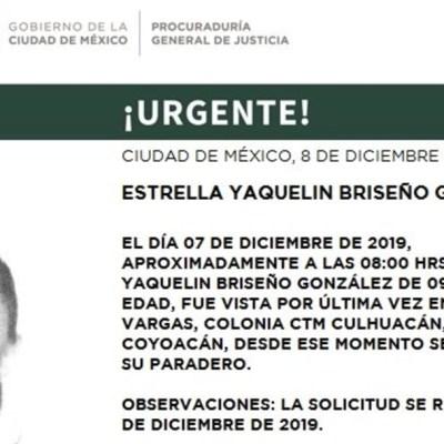 Activan Alerta Amber para localizar a Estrella Yaquelin Briseño González