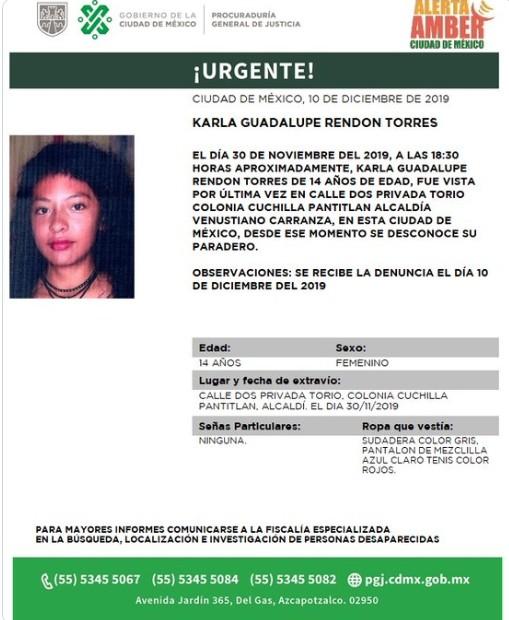 Activan Alerta Amber para localizar a Karla Guadalupe Rendon Torres, el 11 de diciembre de 2019