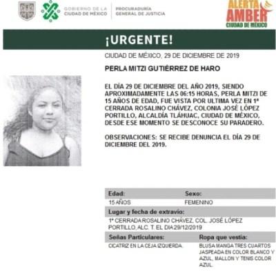 Activan Alerta Amber para localizar a Perla Mitzi Gutiérrez de Haro