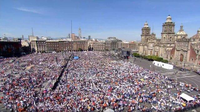 Foto: Así luce el Zócalo por primer informe de gobierno de López Obrador, 1 de diciembre de 2019 (Presidencia)
