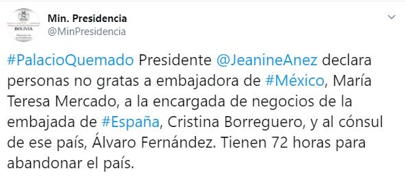 IMAGEN Bolivia expulsa a embajadora de México (Twitter)