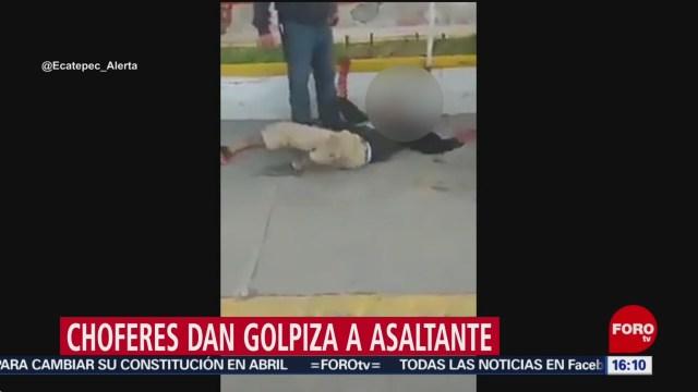 Foto: Choferes Transporte Público Golpiza Asaltante 23 Diciembre 2019