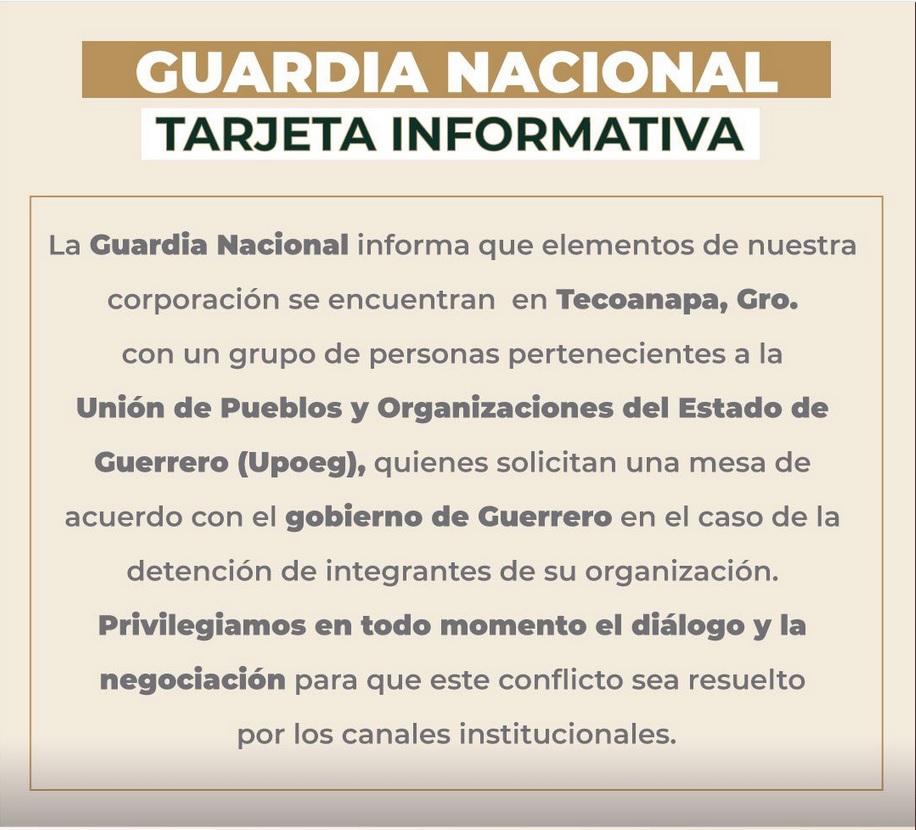Comunicado de la Guardia Nacional.