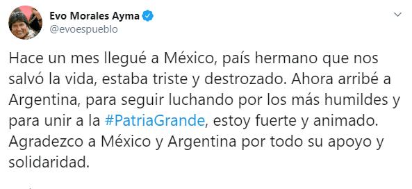 IMAGEN Evo Morales agradece a México (Twitter)
