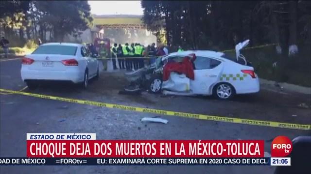 FOTO: Fallecen dos tras accidente en la carretera federal México-Toluca, 14 diciembre 2019