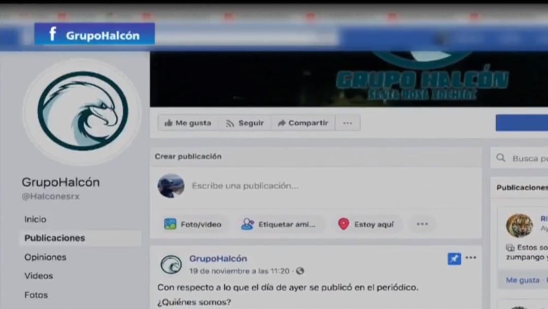 IMAGEN: Página de Facebook de Grupo Halcones en la que los ciudadanos denuncian anomlías en el pueblo de Santa Rosa Xochiac (Noticieros Televisa))