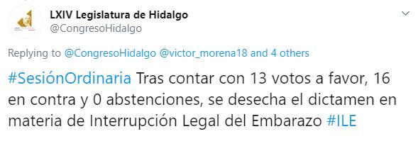 IMAGEN Hidalgo desecha dictamen para legalización del aborto (Twitter)