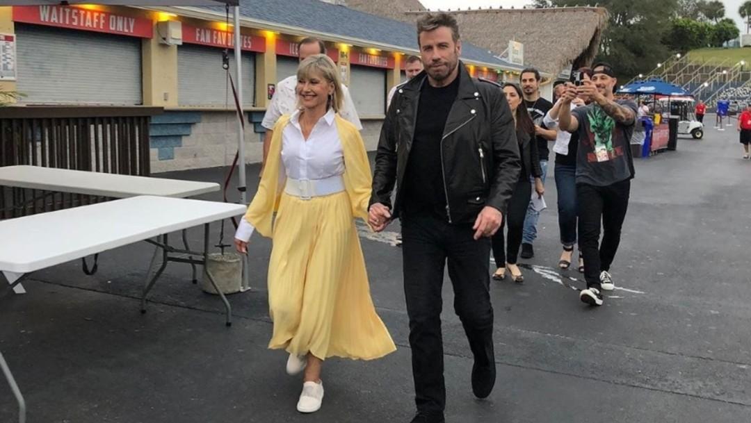 Foto: Olivia Newton-John y John Travolta reviven a Sandy y Danny, 41 años después