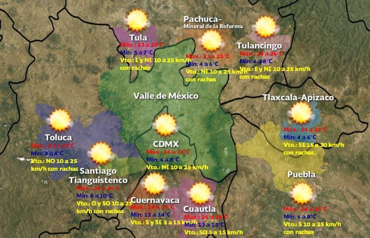 Foto: Pronóstico meteorológico para este domingo 8 de diciembre.