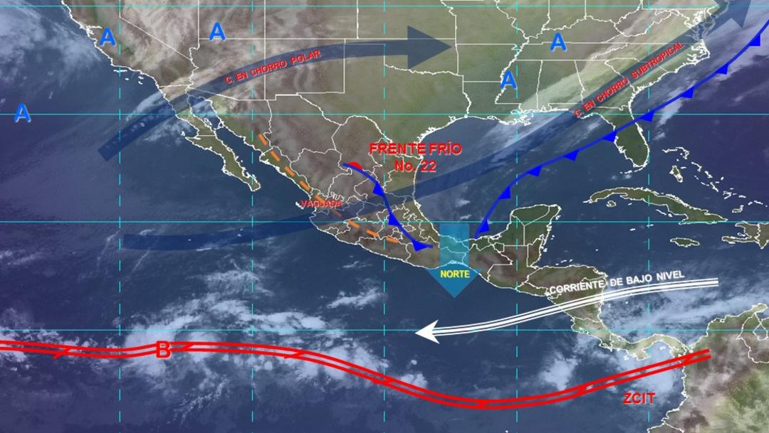 IMAGEN Frente frío 22 y 'Norte' provocarán lluvias (Conagua)