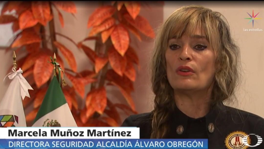 """FOTO: La directora de seguridad de la alcaldía Álvaro Obregón niega que trabajen en conjunto con el """"grupo halcones"""" (Noticieros Televisa)"""