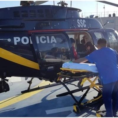 Foto: Dos policías fueron trasladados en helicóptero tras accidente, 14 de diciembre de 2019 (SSC)