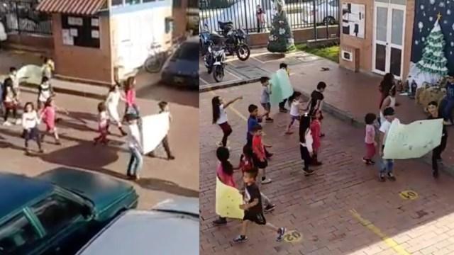 Niños inician protesta porque no les dejan jugar