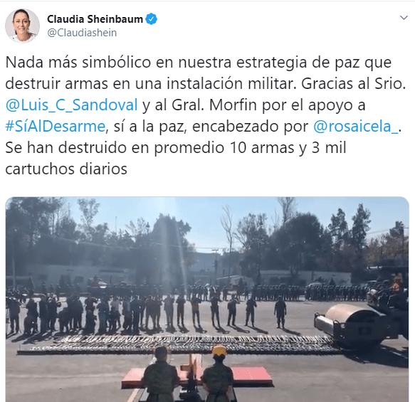 IMAGEN Claudia Sheinbaum destaca ceremonia de destrucción de armas en la CDMX (Twitter)