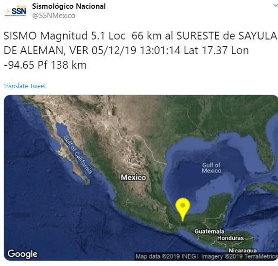 IMAGEN Se registra sismo en Veracruz (Twitter)